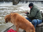 Fishing the Red River, Lockport, Manitoba, Canada